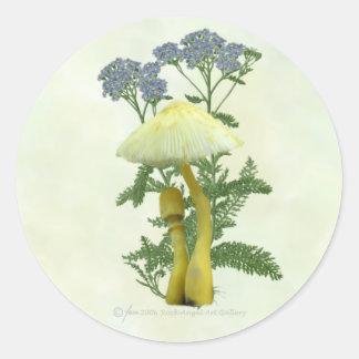 Gult plocka svamp med mycket lilla blåa runt klistermärke