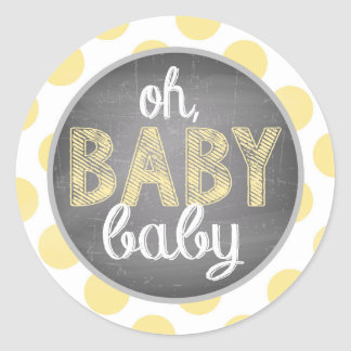 Gult pricker baby shower runt klistermärke