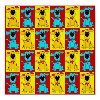 Gult röda 2 för blått för hundar för affischbarnpo affisch