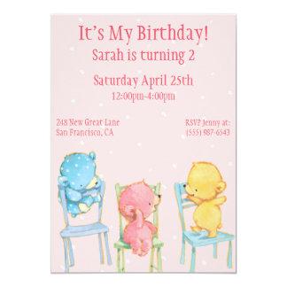 Gult, rosor och blåttbjörnfödelsedag 12,7 x 17,8 cm inbjudningskort