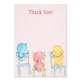 Gult, rosor och blåttbjörntack 12,7 x 17,8 cm inbjudningskort