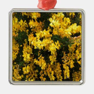 Gult sätta en klocka på blommor -- Infödd Julgransprydnad Metall