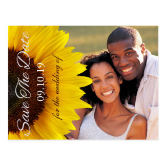 Gult solrosbröllop spara datumfoto vykort