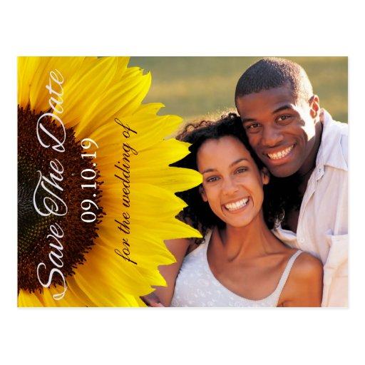 Gult solrosbröllop spara datumfoto