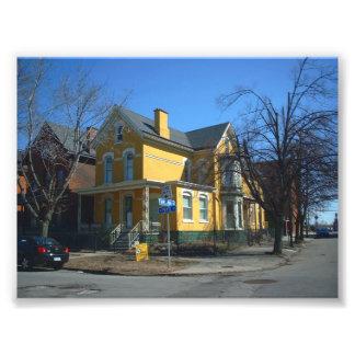 Gult Victorianhus på Virginia och pärlan Fototryck