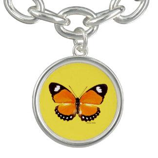 """Gultarmband """"för svart & orange fjäril"""" berlockarmband"""