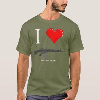 GunLink älskar jag gevär AR15 (hjärta) T Shirts