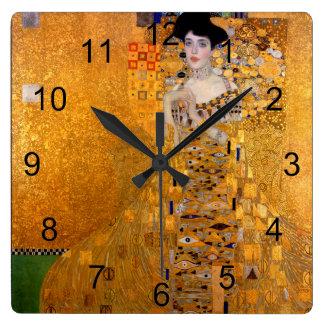 Gustav Klimt Adele porträttvintage Fyrkantig Klocka