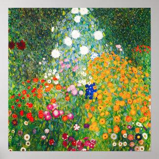 Gustav Klimt blomsterträdgårdaffisch Poster