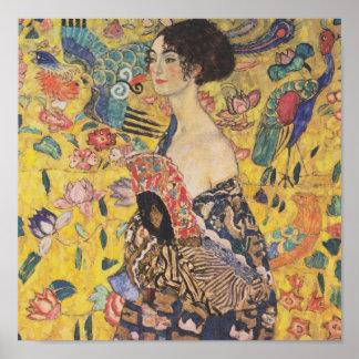 Gustav Klimt dam med fläktaffischen Poster