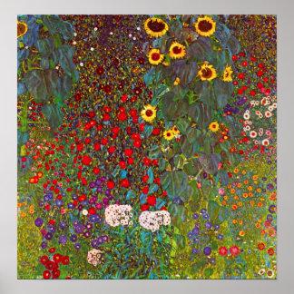Gustav Klimt lantgårdträdgård med solrosaffischen Poster