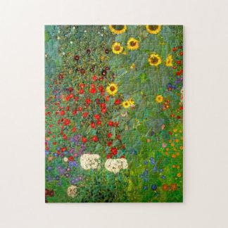 Gustav Klimt lantgårdträdgård med solrospussel Pussel
