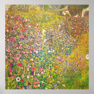 Gustav Klimt rosa blommaaffisch Poster