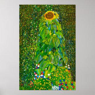 Gustav Klimt solrosaffisch Poster