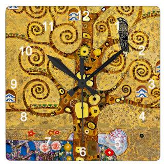 """Gustav Klimt , """" Tree of life """" Fyrkantig Klocka"""