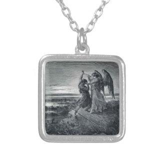 Gustave Dore: Jacob som brottas med ängeln Silverpläterat Halsband
