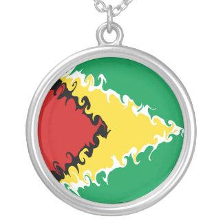 Guyana Gnarly flagga Halsband Med Rund Hängsmycke