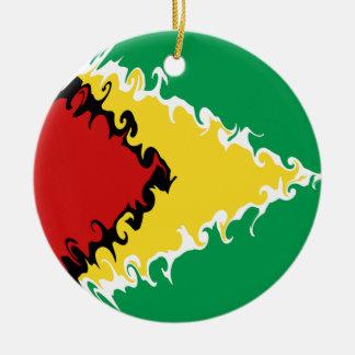Guyana Gnarly flagga Rund Julgransprydnad I Keramik