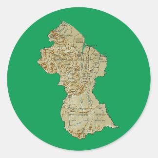 Guyana kartaklistermärke runt klistermärke