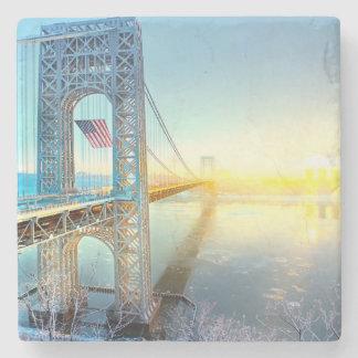 GWB-förbindande fort Lee NJ och Manhattan NYPlus Underlägg Sten