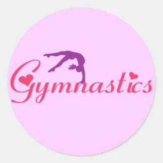 Gymnastik med hjärtor runt klistermärke