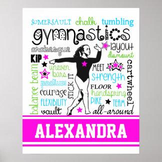 Gymnastiktypografi med monogramen poster