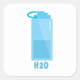 H2O-flaska Fyrkantigt Klistermärke