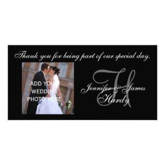 H för brölloptackMonogram och meddelande Anpassade Foto Kort