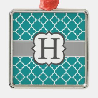 H Quatrefoil för brev för krickablåttMonogram Julgransprydnad Metall