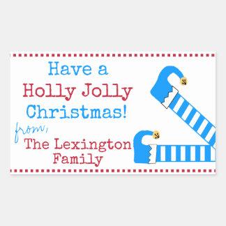 Ha ben för en älva för Jolly jul för järnek roligt Rektangulärt Klistermärke