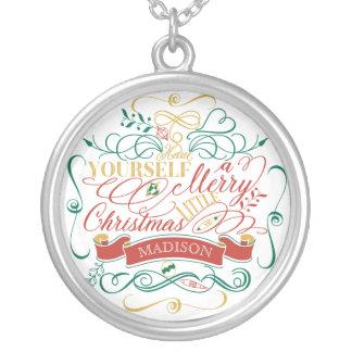 Ha dig en glad lite jultypografi silverpläterat halsband