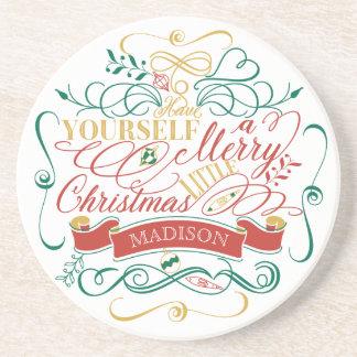 Ha dig en glad lite jultypografi underlägg sandsten