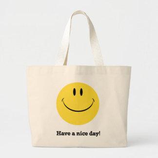 Ha en retro smiley facetoto för trevlig dag:), jumbo tygkasse