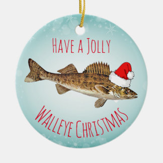 """""""Ha Jolly jul för en Walleye"""" med den Santa hatten Rund Julgransprydnad I Keramik"""