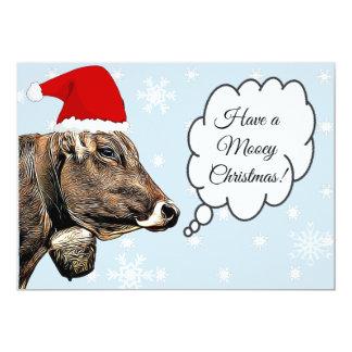 Ha julkort för ko för MOOey jul en rolig 12,7 X 17,8 Cm Inbjudningskort