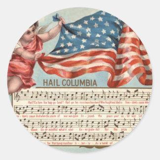 Hagel Columbia för Cherub för US-flaggaängel Runt Klistermärke