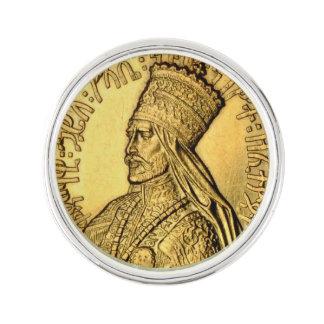Haile Selassie slag klämmer fast forntida guld- Rockslagsnål