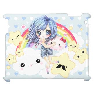 Haired flicka för gulliga blått med regnbågen och  iPad mobil skal