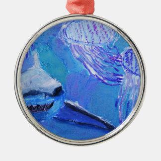 Haj- och manetmålning julgransprydnad metall