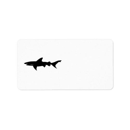 Hajen akta sig av att dra för hajar adressetikett