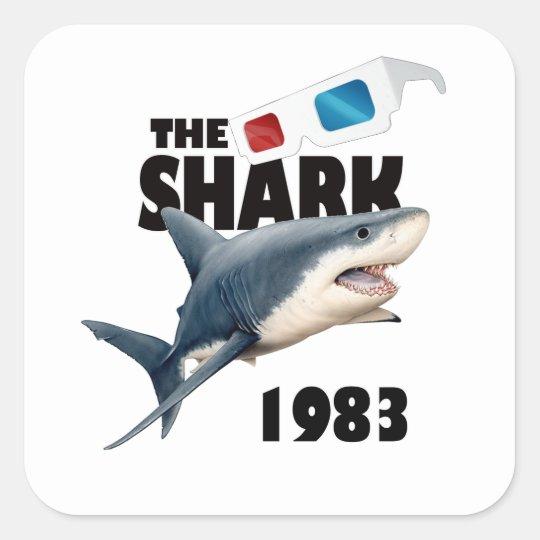 Hajfilmen Fyrkantigt Klistermärke