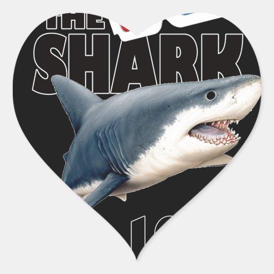 Hajfilmen Hjärtformat Klistermärke