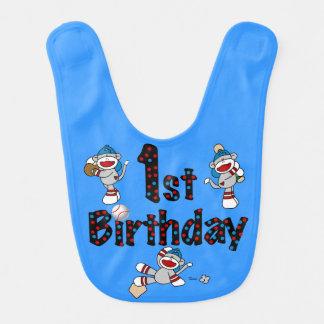Haklapp för födelsedag för sock monkeybaseball 1st hakklapp