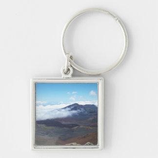 Haleakala Hawaii Fyrkantig Silverfärgad Nyckelring
