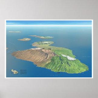 Haleakala och Maui kartaaffisch Poster