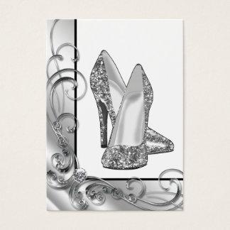 Hälet för silverglitterkicken skor visitkort