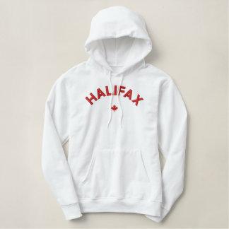 Halifax Hoodie - röd Kanada lönnlöv Broderad Luvtröja