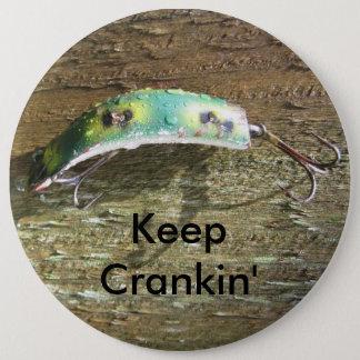 Håll Crankin gammalt fiskedrag Jumbo Knapp Rund 15.2 Cm