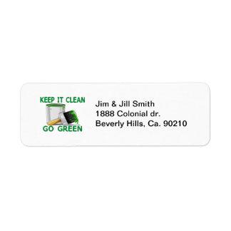 Håll det rent för att gå grönt returadress etikett