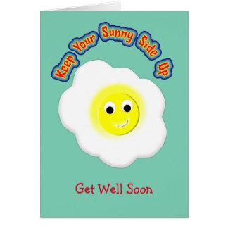 Håll din soliga sida upp det novelty stekte ägget hälsningskort
